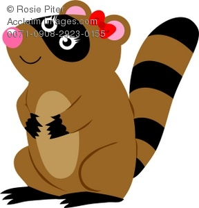 288x300 Clip Art Illustration Of A Female Raccoon With A Bow On Her Head