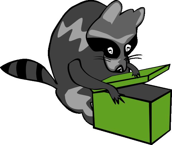 600x506 Raccoon Opening Box Clip Art