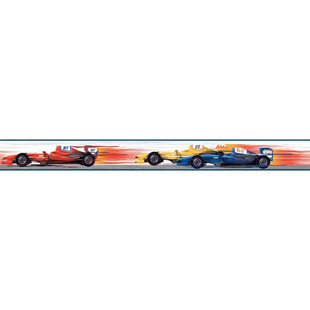 1000x1000 York Wallcoverings Cool Kids Race Car Wallpaper Border Ks2318bd