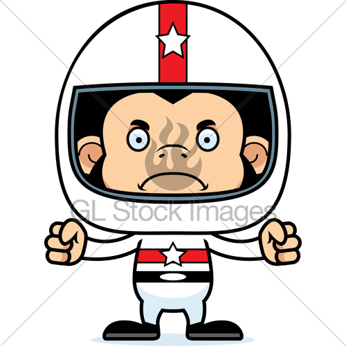 500x500 Cartoon Angry Race Car Driver Chimpanzee Gl Stock Images