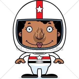 325x325 Cartoon Smiling Race Car Driver Girl Gl Stock Images