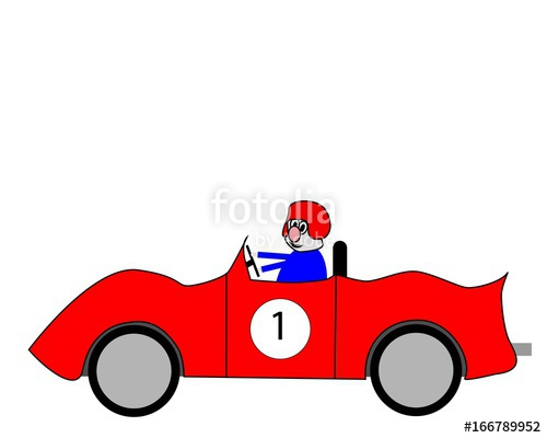 500x400 Cartoon Style Car Race Driver In Bright Red Sports Racing Car