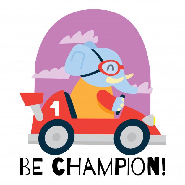 626x626 Cute Cartoon Elephant Driving A Race Car Vector Premium Download