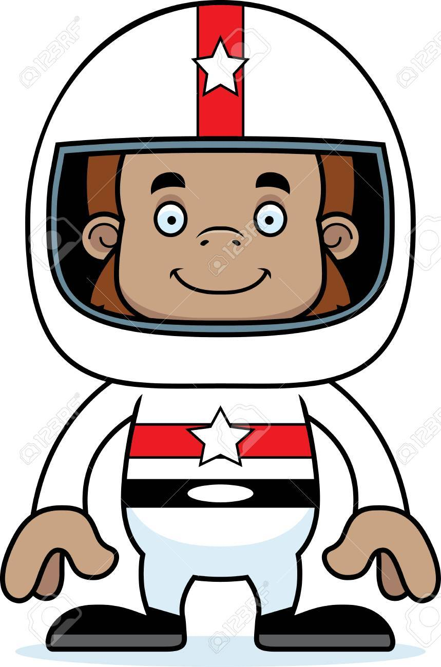 859x1300 A Cartoon Race Car Driver Sasquatch Smiling. Royalty Free Cliparts