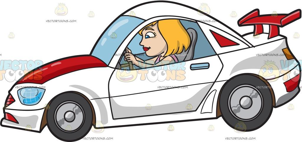 1024x483 A Woman Driving A White Race Car Cartoon Clipart