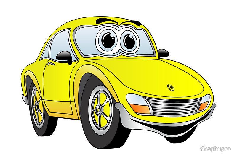 800x534 Yellow Sports Car Cartoon Posters By Graphxpro Redbubble