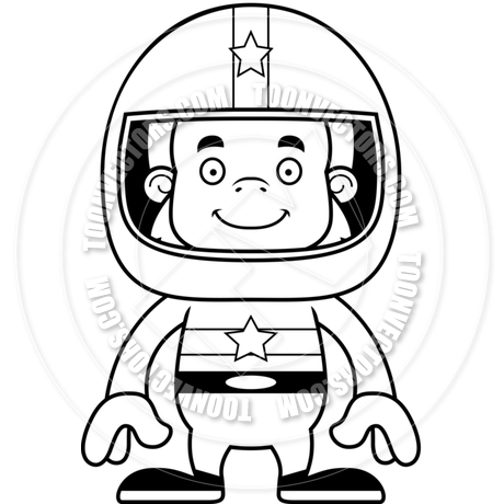 460x460 Cartoon Smiling Race Car Driver Sasquatch (Black And White Line