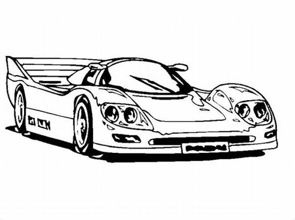 600x449 Super Race Car With Awesome Back Spoiler Coloring Page Super Race