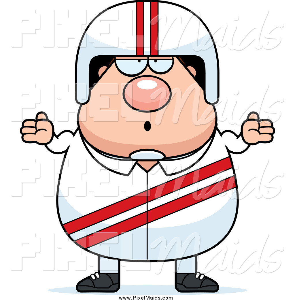 1024x1044 Clipart Of A Careless White Male Shrugging Race Car Driver By Cory