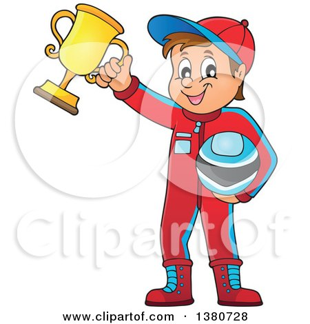 450x470 Clipart Of A Race Car Driver Holding His Helmet And First Place
