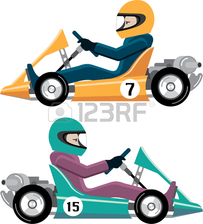 408x450 Karting Go Cart Race Vehicle With A Driver Illustration Clip Art