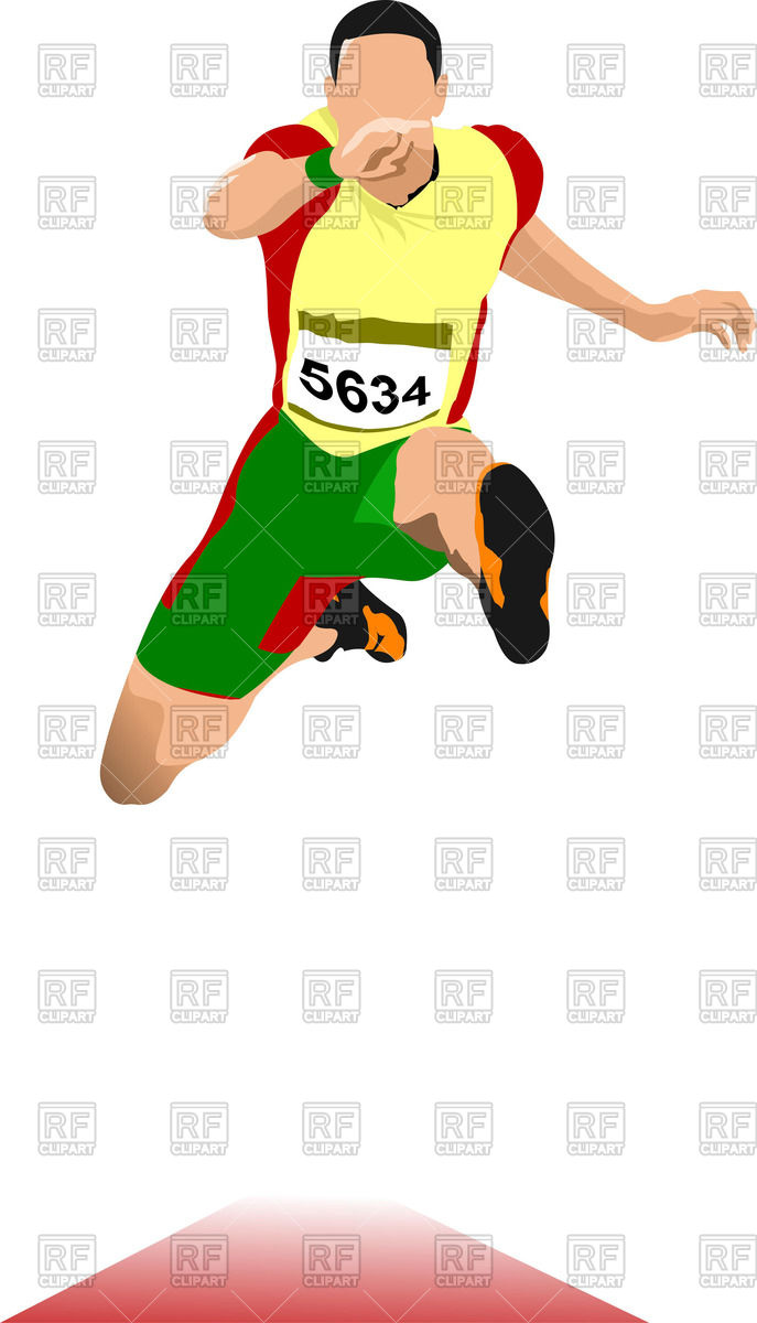 687x1200 Man In Hurdle Race (Long Jump) Royalty Free Vector Clip Art Image