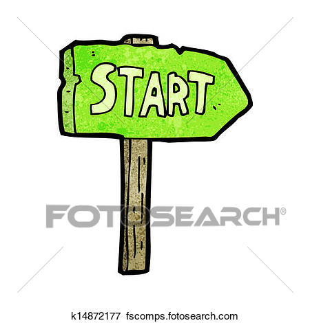 450x470 Clip Art Of Cartoon Race Start Sign K14872177