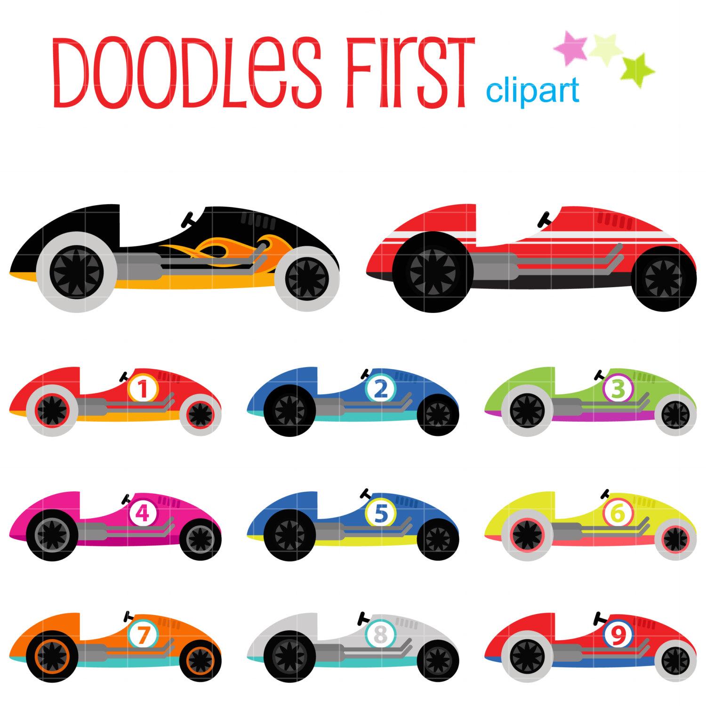 1500x1500 Cute Race Cars Digital Clip Art For Scrapbooking Card Making