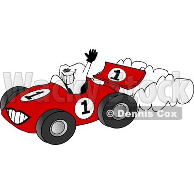 400x400 Healthy Tooth Driving A Race Car Clipart Djart