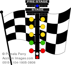 300x273 Clip Art Image Of A Checkered Racing Flag With A Light Rack