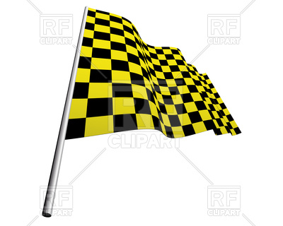 400x320 Yellow And Black Checkered Racing Flag Royalty Free Vector Clip
