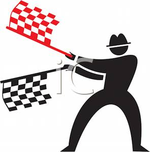 295x300 Colorful Cartoon Of A Man With Racing Flags