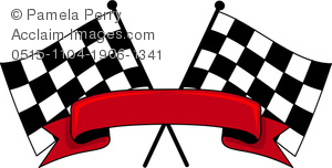 300x152 Art Image Of Two Checkered Racing Flags With A Banner