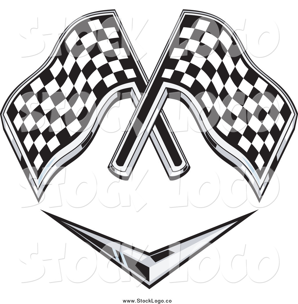 1024x1044 Vector Clipart Of Checkered Racing Flags Over A Chevron Symbol By