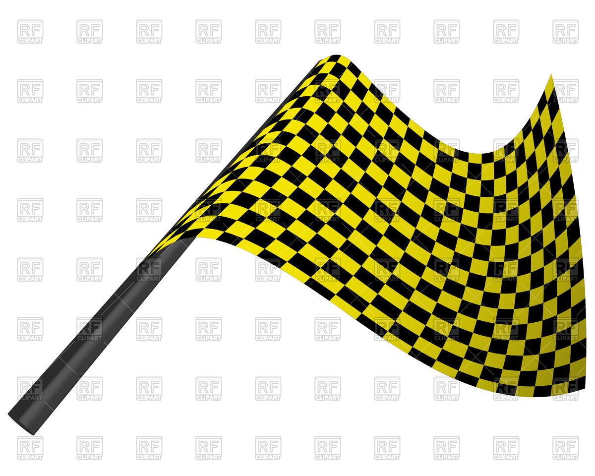 1200x960 Yellow And Black Checked Racing Flag Royalty Free Vector Clip Art