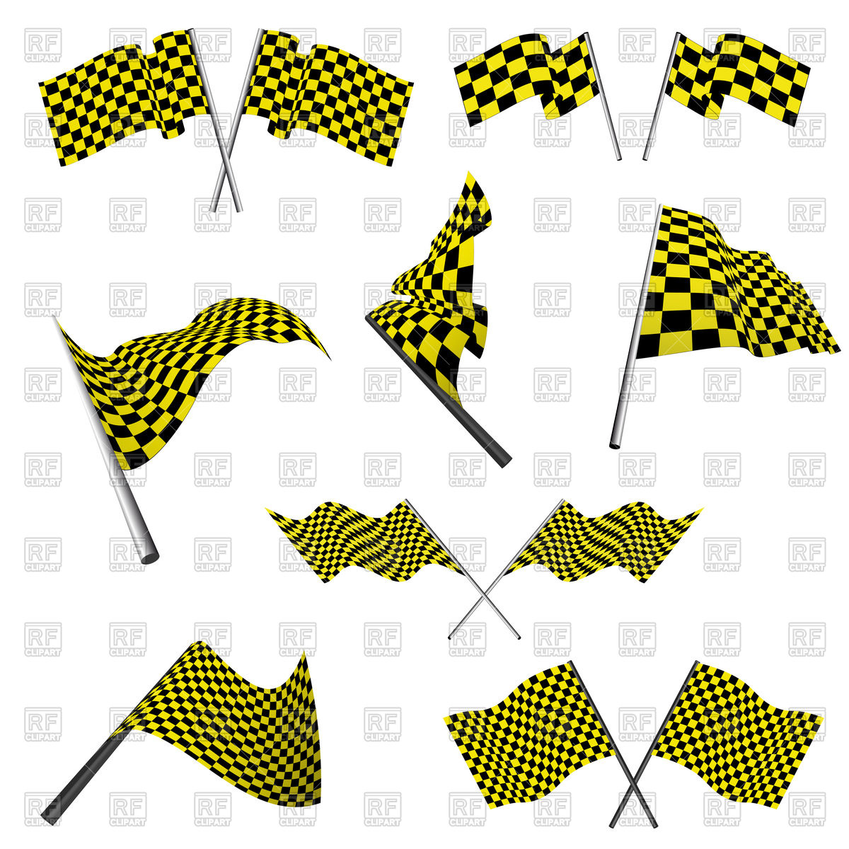 1200x1200 Yellow And Black Checkered Racing Flags