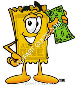 264x300 Illustration Of A Cartoon Ticket Character Holding Money