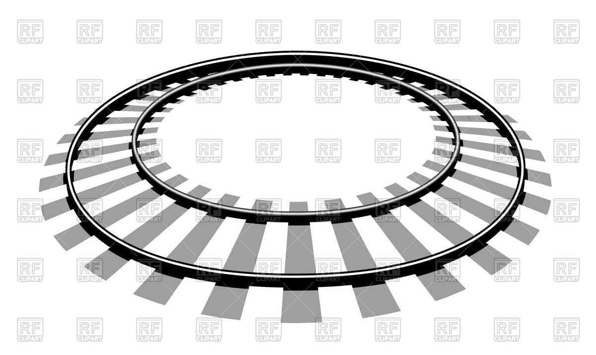 1200x715 Circle Train Tracks On White Background Royalty Free Vector Clip