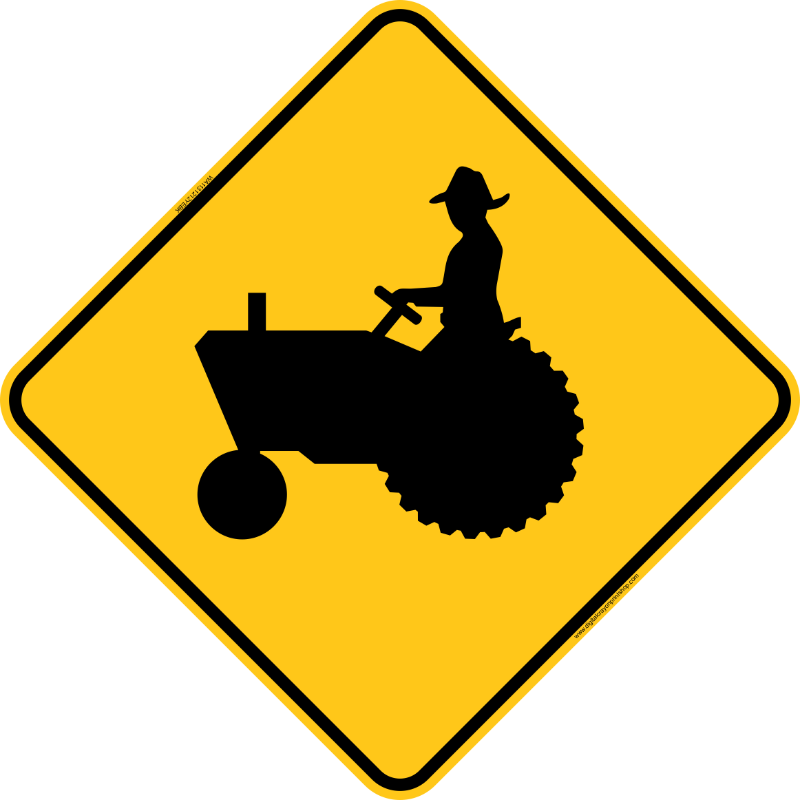1162x1162 Tractor Crossing Icon Warning Trail Sign Digital Crayon