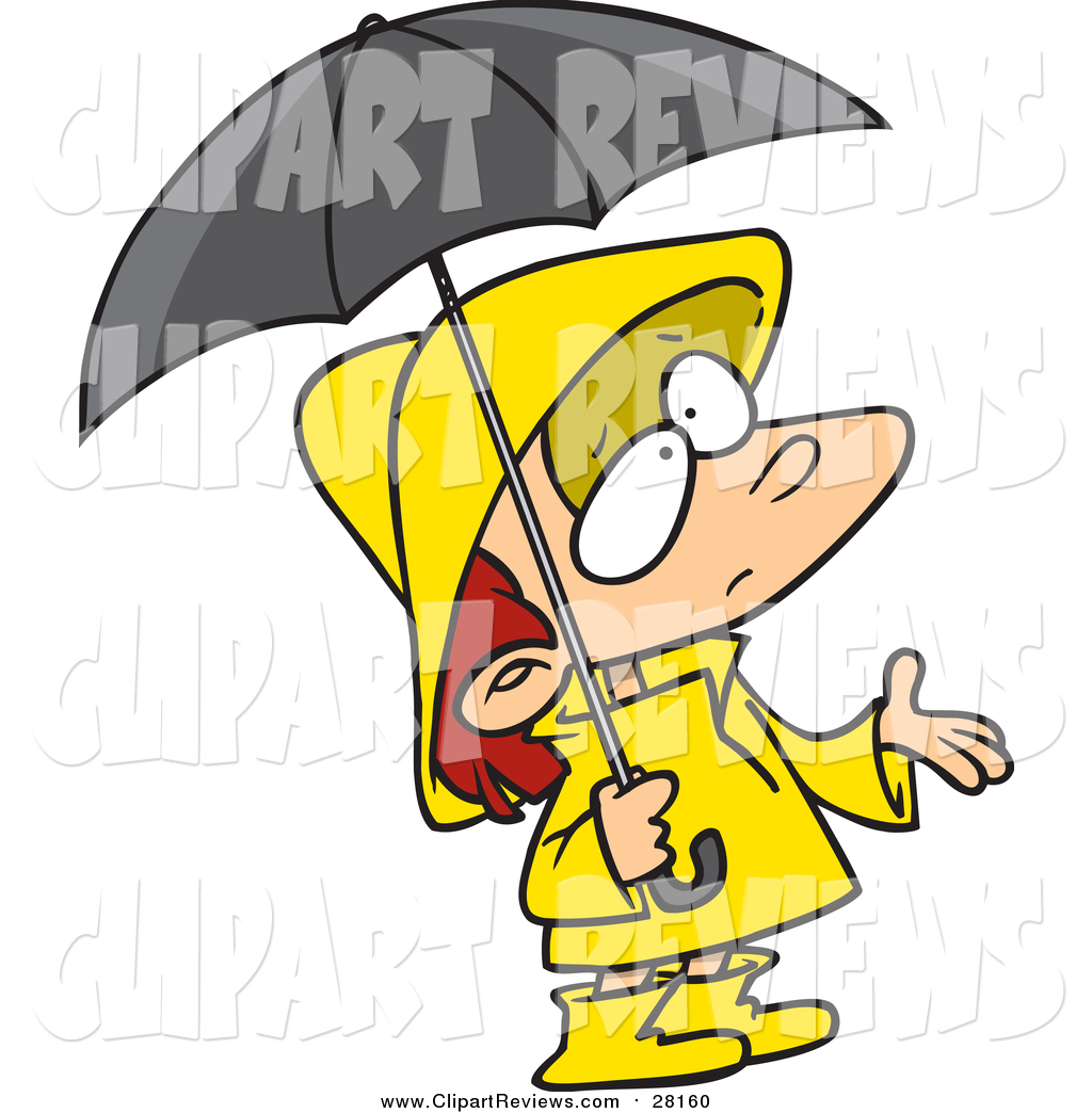 1024x1044 Clip Art Of A Cartoon White Girl In Rain Gear, Waiting For Showers