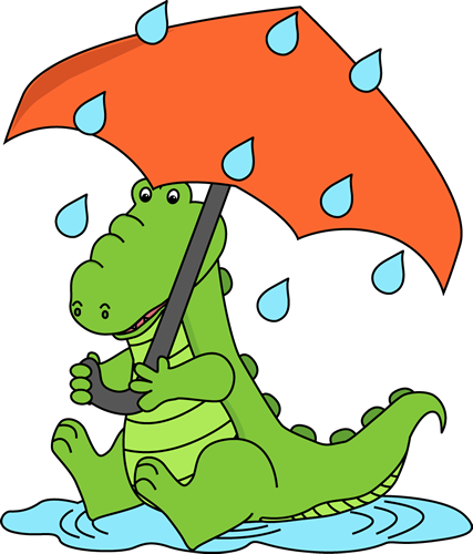 427x500 Alligator Sitting in the Rain Clip Art