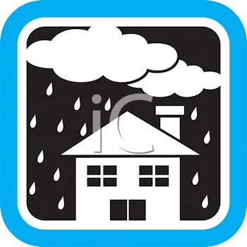 350x350 Weather Icon Showing Clouds Raining On A House