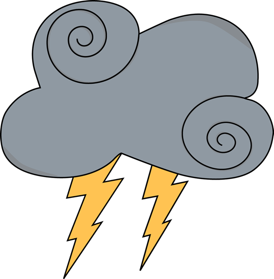 539x550 Swirly Gray Cloud With Lightning Clip Art