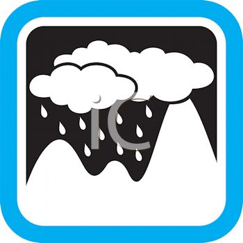 350x350 Weather Icon Showing Rain Clouds Over Mountains