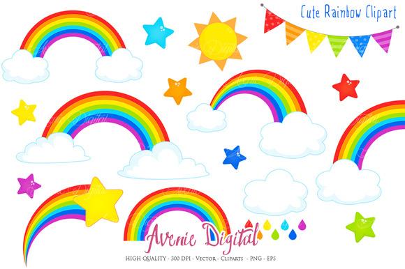 580x386 Cute Rainbow Clipart + Vector By Avenie Digital On @creativemarket