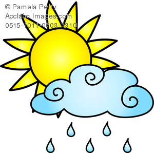 300x298 Clip Art Image Of A Sun With A Rain Cloud