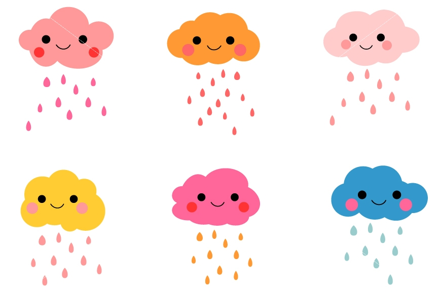 870x579 Cute Clouds Clipart, Digital Kawaii Rain Cloud By Pravokrugulnik