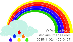 300x174 Art Image Of A Rainbow With A Cloud And Raindrops