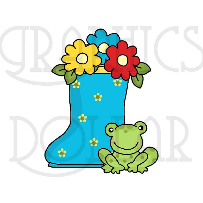 780x780 April Showers Flowers And Frogs Clip Art