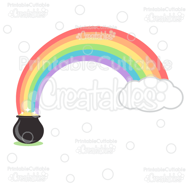 650x650 Pot Of Gold Rainbow Svg Cut File Amp Clipart Set For Silhouette