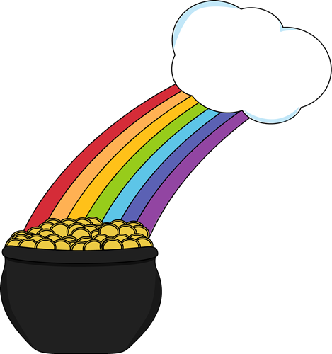 469x500 Pot Of Gold With Rainbow And Cloud Clip Art