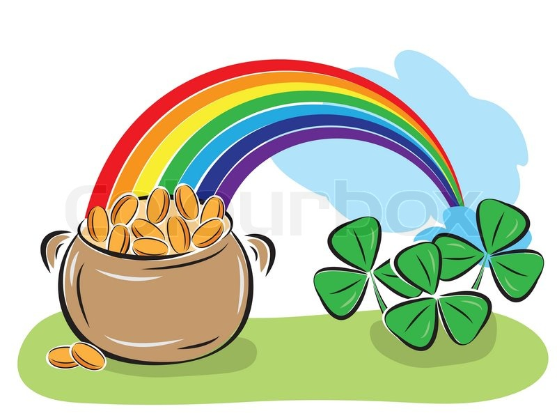 800x600 St Patrick Day Pot With Coins, Rainbow And Shamrocks Stock