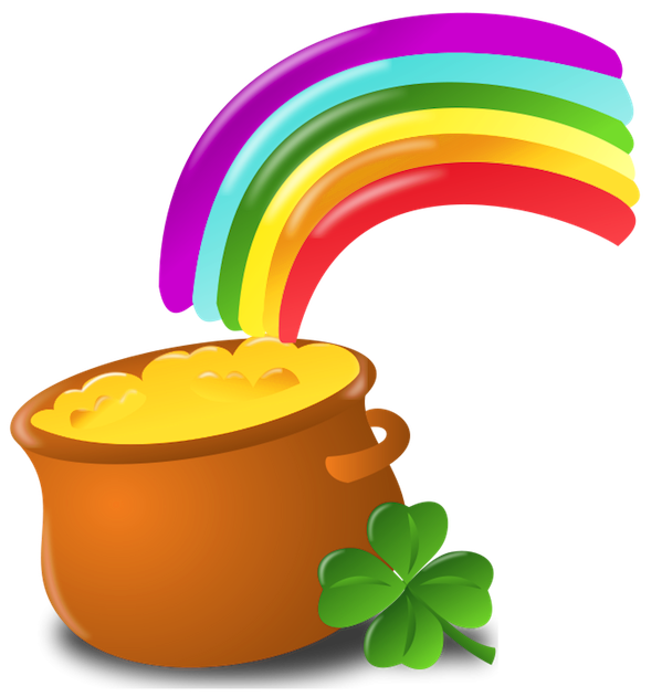599x631 St Patrick Pot Of Gold With Rainbow Png Pictureu200b Gallery