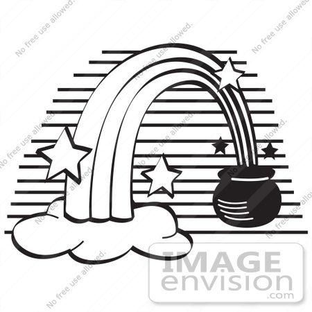 450x450 Royalty Free Black And White Cartoon Clip Art Of A Pot Of Gold