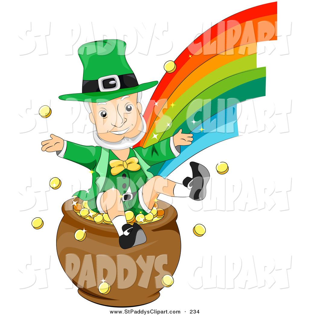 1024x1044 Vector Clip Art of an Elderly Leprechaun Man Jumping in a Pot of