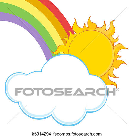450x461 Clipart Of Sun With A Cloud And Rainbow K5914294