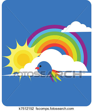 396x470 Clipart Of Sky View Of Rainbow, Sun, Clouds And Bird K7512152