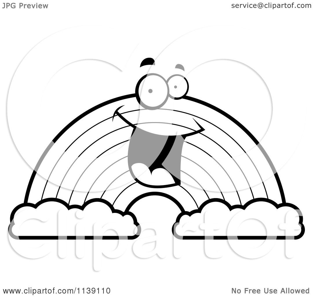 1080x1024 Cartoon Clipart Of A Black And White Happy Rainbow With Two Clouds