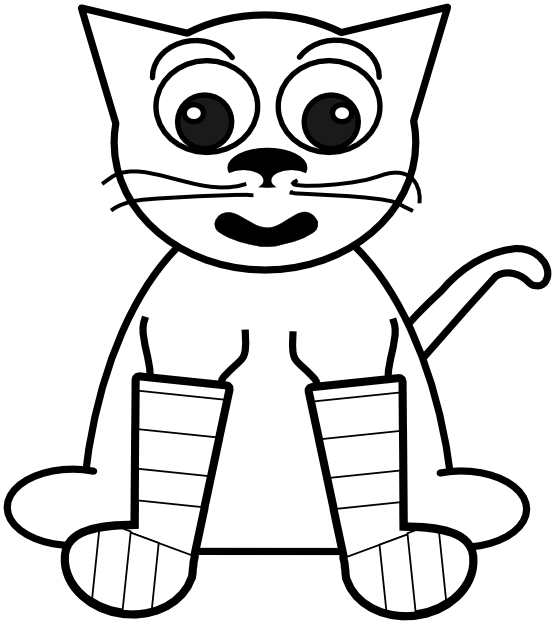 555x624 Clip Art Cat In Rainbow Socks Bw Black White