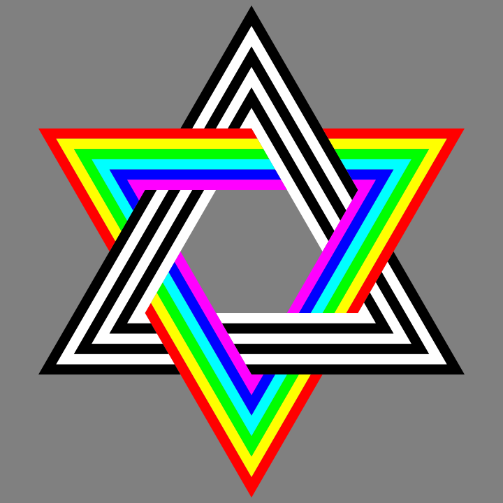 720x720 Six Stripe Hexagram Black White And Rainbow By 10binary